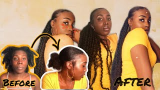 SLEEK LOW PONYTAIL WITH WEAVE ON SHORT 4C NATURAL HAIR | USING MARLEY HAIR EXTENSIONS