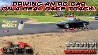 Driving an RC Car on a Real Race Track - Insta360 Go2 RC CAR FPV Lime Rock Park Modified Machines