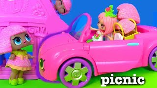 Shopkins Picnic Petkins Видео для Детей LOL Surprise Мультики про Машинки #Шопкинс #Poolparty