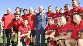 video: Warren Gatland calls in son Bryn to train with Wales as Prince Charles visits team in Tokyo