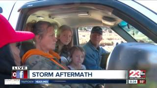 Flooded roadway prevents Pine Canyon residents from getting home