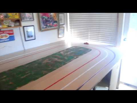 Maiden voyage on our new oval slot car track.