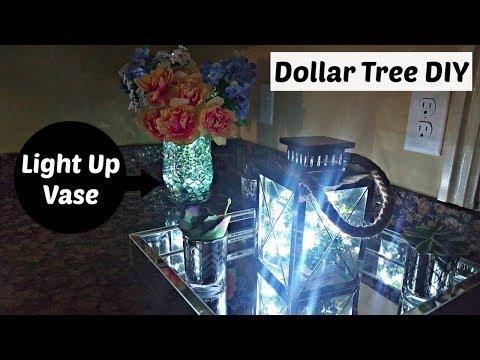 DIY Light Up Floral Vase – DOLLAR TREE & Walmart | Flower Centerpiece Home Decor Craft