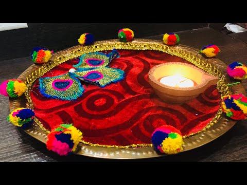 Aarti thali decoration ideas/Aarti thali decoration with kumkum/thali decoration/diy thali decor