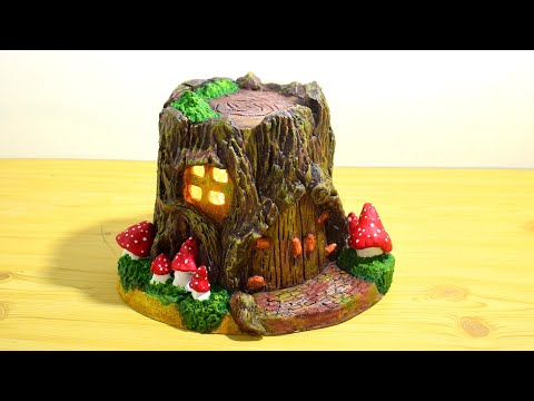 DIY Cement Log Fairy House Lamp | Cement Project You Can Make at Home | Concrete Fairy Garden Lamp