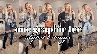 6 OUTFITS, 1 GRAPHIC TEE | Edgy, Cute Outfit Ideas!