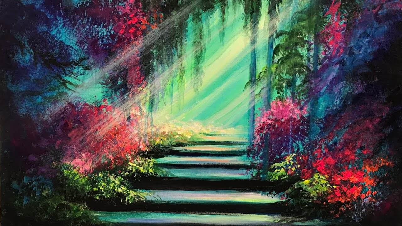 ACRYLIC PAINTING TUTORIAL / HOW TO PAINT A SECRET GARDEN ...