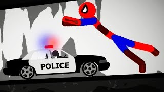 Stickman Destruction 5 Annihilation - Spiderman vs Police Car! Gameplay Part 5