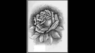 Dibujos a lapiz de rosas ,corazones y rostros