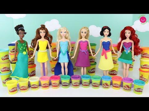 Hago Vestidos de Play-Doh para las muñecas Princesas Disney