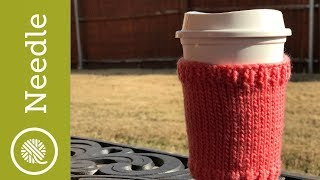 How to Knit | Basic Cup Cozy (Closed Captions)