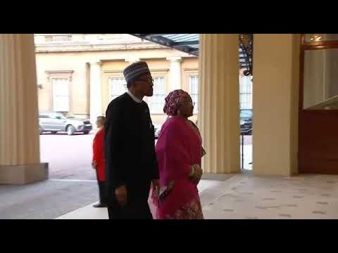 President Buhari and his wife Aisha Buhari Attended a dinner hosted by Queen Elizabeth at Buckingham