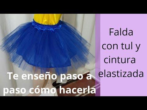 DIY. Falda con tul para disfraz o tutú con pretina y elástico para niña. Paso a paso.