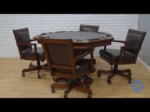 Video for Ambassador Rich Cherry  Octagon Game Table and Four Chairs