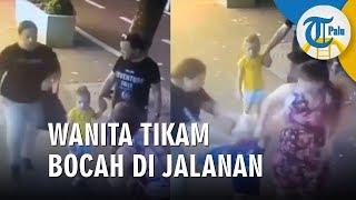 Video CCTV Wanita Tikam Bocah di Jalanan Ramai, Dua Tusukan di Hidung dan Pipi