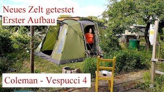 Zelt-Vorstellung - Unser neues Camping-Zelt (Coleman Vespucci 4) Erster Aufbau!