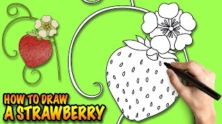 How to draw a Strawberry Flower - Easy step-by-step drawing lessons for kids