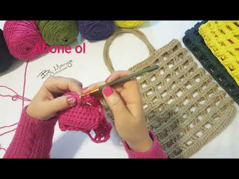 ea5deff6a8a6c Tığ işi Kolay ve Hızlı Modern File çanta yapımı #crochet #crochetbag  #stringbag #