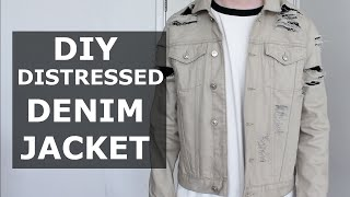 DIY Distressed Denim Jacket   Stone, Khaki, Ripped, Affordable, Easy   Gallucks