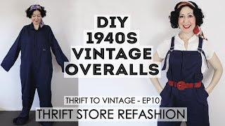 DIY 1940s Vintage Style Overalls - Refashioning Thrift Store Clothes Into Vintage Style Outfits