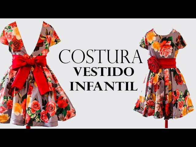 59a76e526 COSTURA- VESTIDO GODÊ INFANTIL COM MANGA EMBUTIDA | Cantinho do Video  Costura em Roupas