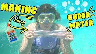 MAKING SLIME UNDER WATER CHALLENGE IN MY POOL! ~ is it possible