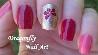 DRAGONFLY NAIL ART Design - Pretty Pink & Gold Nails Tutorial / Summertime