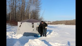 Polar Vortex Winter Camping in -32 Degrees With Wood Stove & Tent