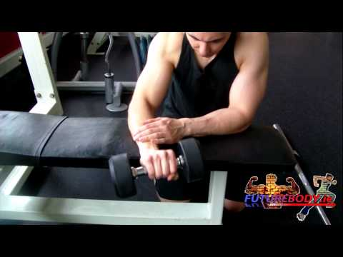 Forearm - Palms Down One Arm Dumbbell Wrist Curl Over A Bench ( FUTUREBODY .ie)