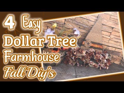 4 EASY DOLLAR TREE FARMHOUSE Fall DIY's | DIY Dollar Tree Fall Decor