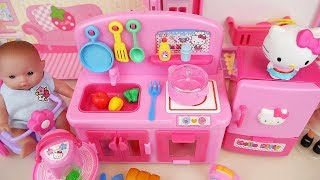 Hello kitty kitchen and baby doll food cooking toys play
