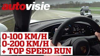 Porsche Taycan Turbo S: 0-100 km/h, 0-200 km/h & top speed Autobahn run | Autovisie