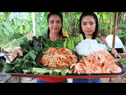 How to cook noodle with shrimp salad recipe with my sister