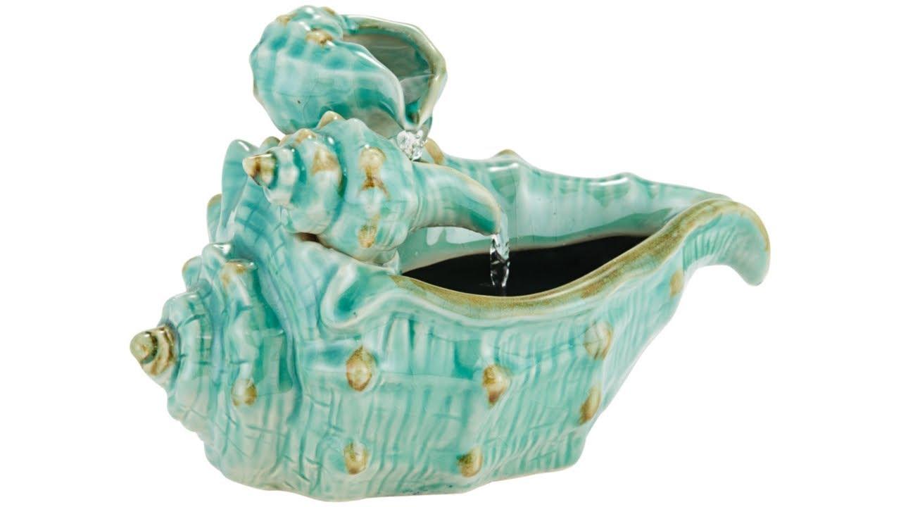 Seashells Teal Ceramic Tabletop Fountain