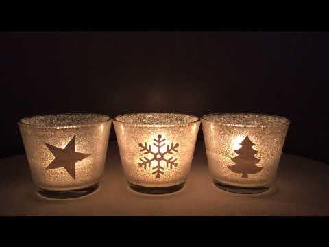 Teelichtglas Weihnachten Silber