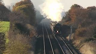 preview picture of video 'Oliver Cromwell, 44871 & 45407, in Cheshire, Saturday 30th November 2013'