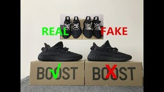low priced 127c5 68faa Real VS Fake Yeezy Boost 350 V2 Black Static Non Reflective ...