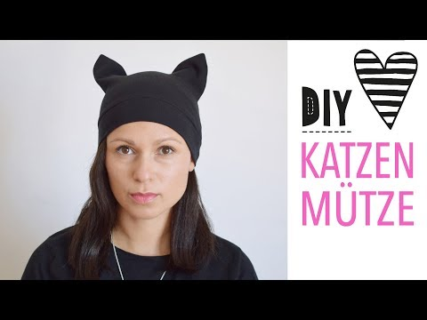 Katzenmütze mit Schnittmuster nähen / DIY Mütze mit Katzenohren
