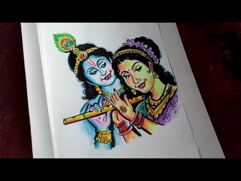 How To Draw Lord Krishna And Radha Color Drawing Kids Cartoon