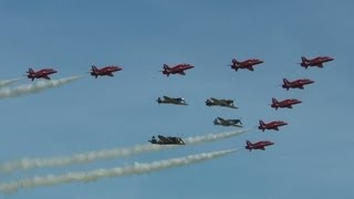 preview picture of video 'Eagle Squadron and the Red Arrows at Duxford 26th May 2013'