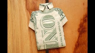 Money Origami Tutorial -  Fold A T-Shirt With Dollar Bill