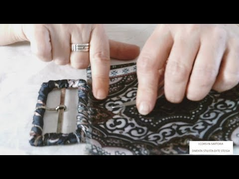 Cintura fusciacca in tessuto con fibbia ricoperta