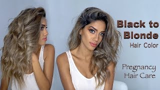 Black to ASH Blonde Hair While Pregnant (How to do Safely!) - HAIR MAKEOVER | ARIBA PERVAIZ