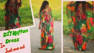 How to make a kaftan dress in just one cut ||how to make kaftan from dupatta |
