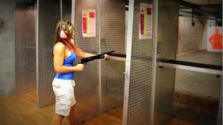 GIRL HIP FIRING the PISTOL GRIP MOSSBERG 500 for the FIRST TIME!! GIRLS SHOOTING GUNS!!