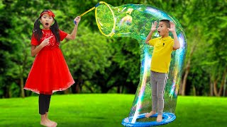 Wendy Pretend Play with Giant Bubbles | Fun Bubble Toys for Kids