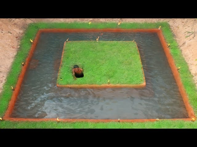 Build The Most Secret Ancient Underground House  And Around Swimming Pool