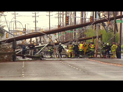 A couple says they're lucky to be alive after dozens of power lines fell on the Seattle street they were driving on, with one wooden public utility pole striking their SUV. (April 8)