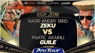NASR Angry Bird (Zeku) vs Fnatic Akainu (Guile) - EGX 2018 EU Finals Grand Finals - SFV - CPT 2018