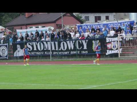Doping kibiców Stomilu Olsztyn w meczu z Chojniczanką Chojnice